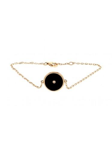 Bracelet chaîne forçat jeton en onyx noir et diamant
