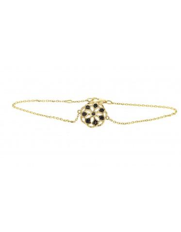 Bracelet flower with black diamonds in 18 K gold