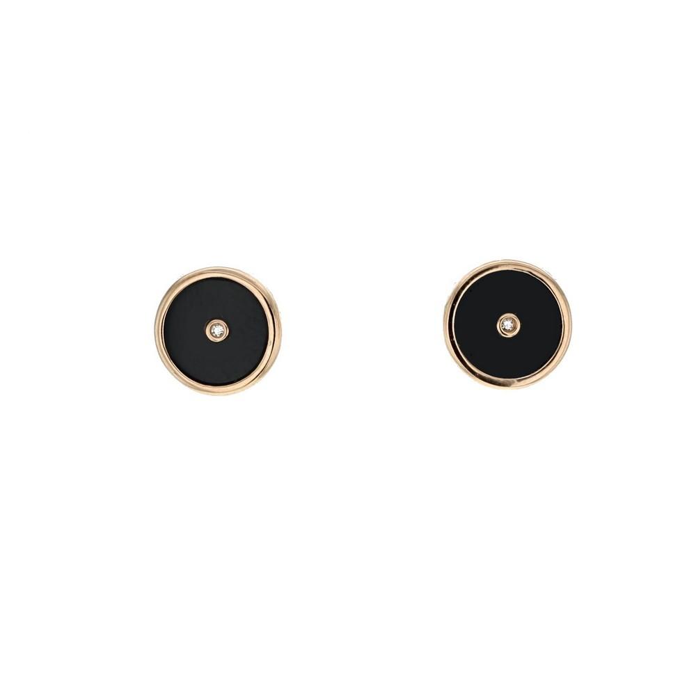 Boucles d'oreilles jetons en onyx noir et diamants