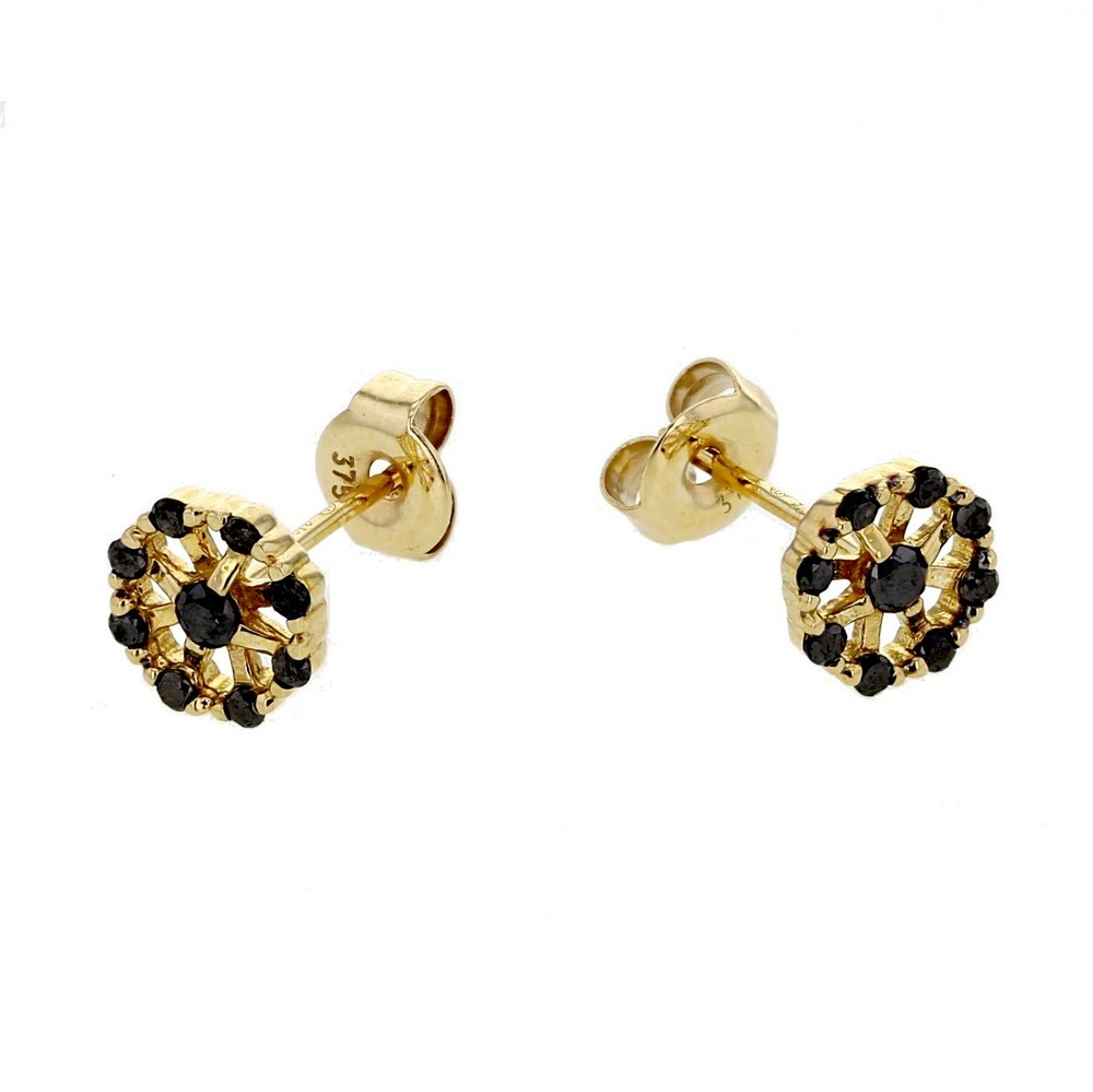 black oreilles tales licates avec wheel carrousel in fleurs noirs diamants set shape p boucles diamond earrings de gold d en k