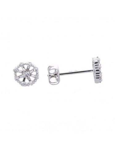 Boucles d'oreilles délicates fleurs avec de pétales en diamants