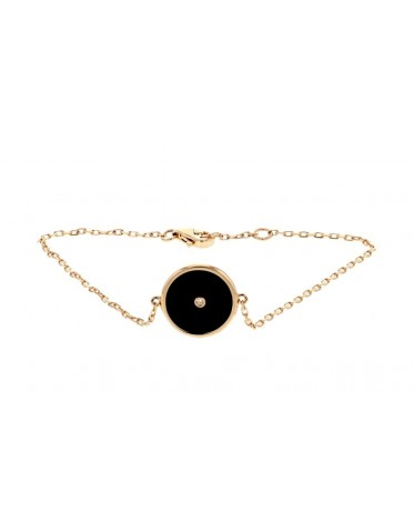 Bracelet with black onyx amulet and a diamond in 18 K gold