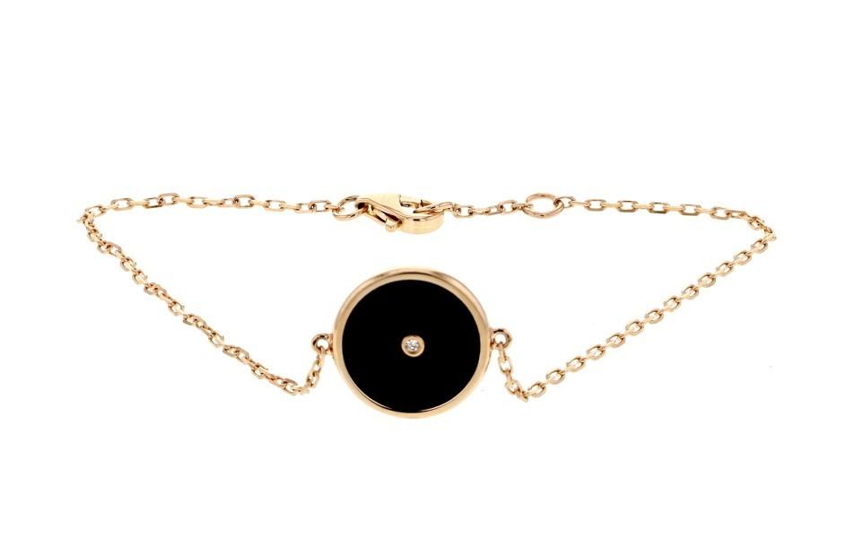 Armband 18K rosa guld med platta i onyx och diamant