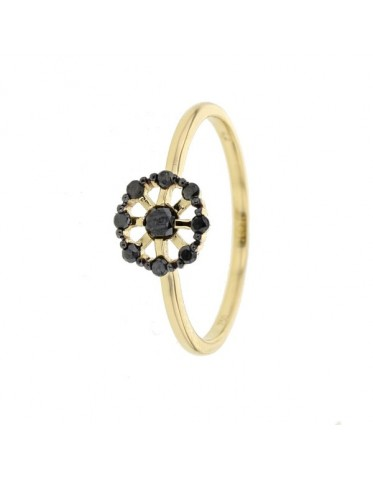 Black diamond set romantic wheel ring in 18 K gold