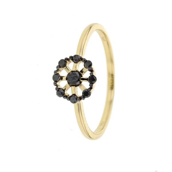Bague délicate fleur avec de pétales en diamants noirs