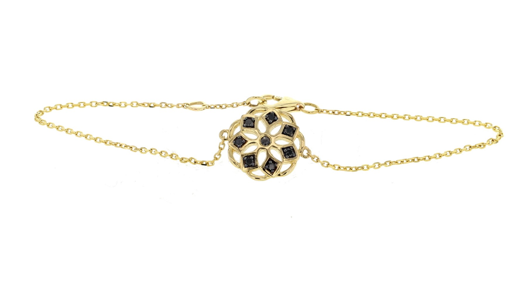 Bracelet flower with black diamonds in 18 K gold
