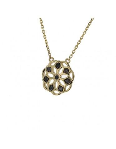 Halsband med gult guld, hänge med svarta diamanter