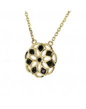 Collier fleur avec des pétales en diamants noirs