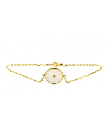 Armband 18K vitt guld med vit platta i pärlemor och diamant