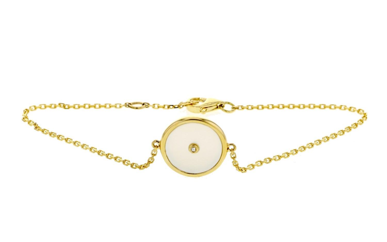 Bracelet chaîne forçat jeton en nacre et diamant