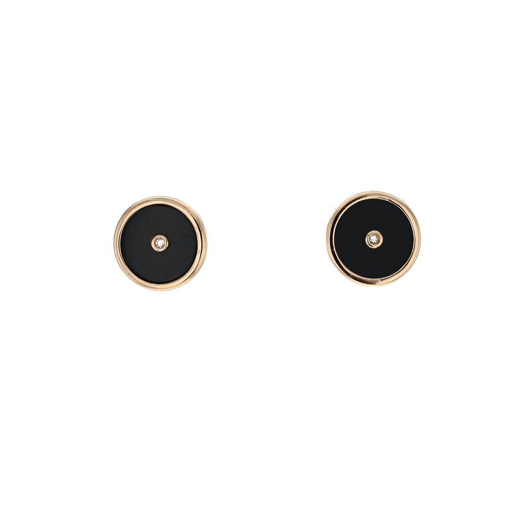 Black Onyx Disc Amulet With Diamond Earrings In 18 K Gold