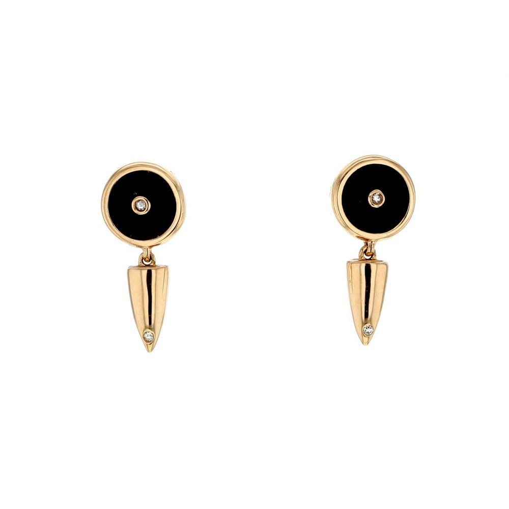 Boucles d'oreilles jetons et balles en onyx noir et diamants