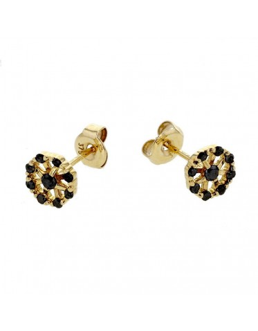 Wheel shape black diamond set earrings in 18 K gold