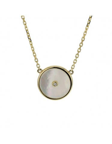 Mother of pearl disc amulet with diamond necklace in 18 K gold