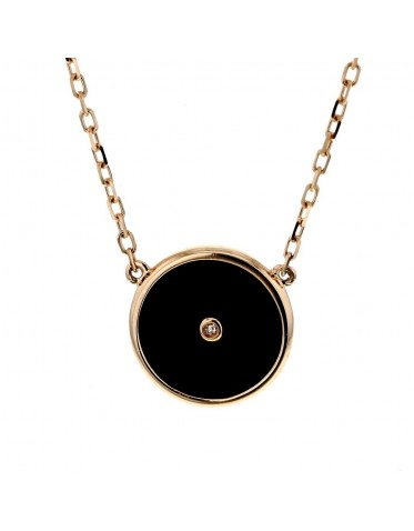Black onyx disc amulet with diamond necklace in 18 K gold