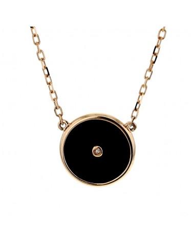Halsband 18K rosa guld, hänge svart onyxplatta med diamant