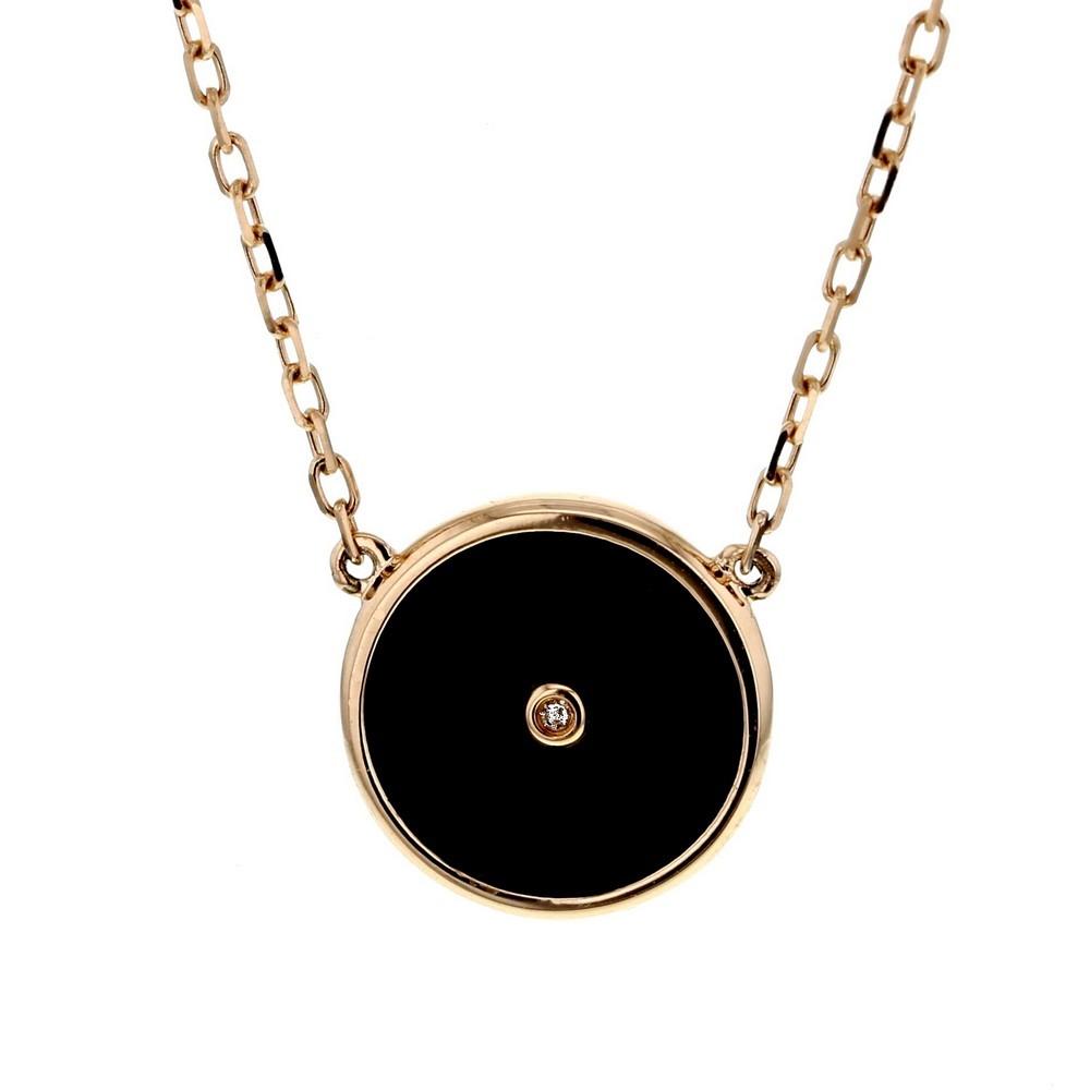 Collier chaîne forçat jeton en onyx noir et diamant