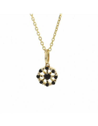 Round flower shape set black diamonds necklace in 18 K gold