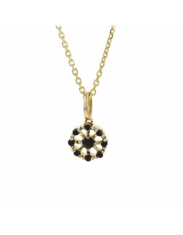 Halsband 18K gult guld, hänge med svarta diamanter