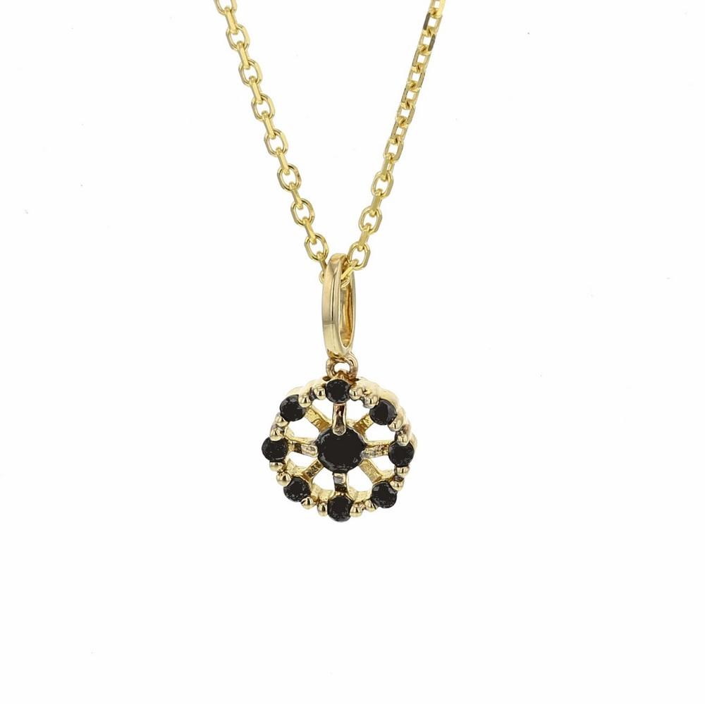 Collier délicate fleur avec de pétales en diamants noirs