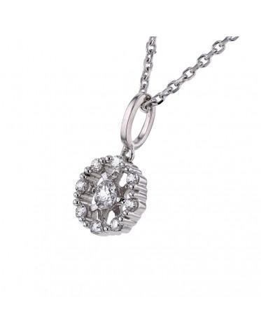 Halsband 18K vitt guld, hänge med diamanter