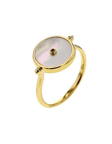 Token in mother of pearl ring with a diamond in 18 K gold