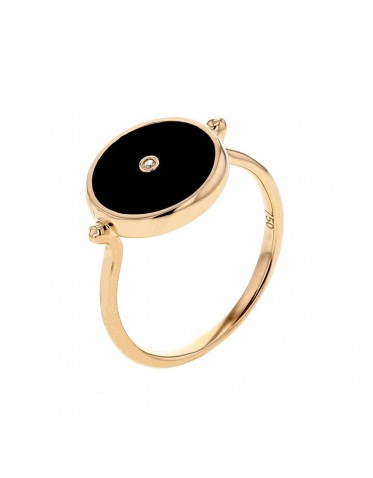Token in black onyx ring with a diamond in 18 K gold