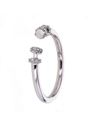 Open tube ring pave set diamonds in 18 K gold