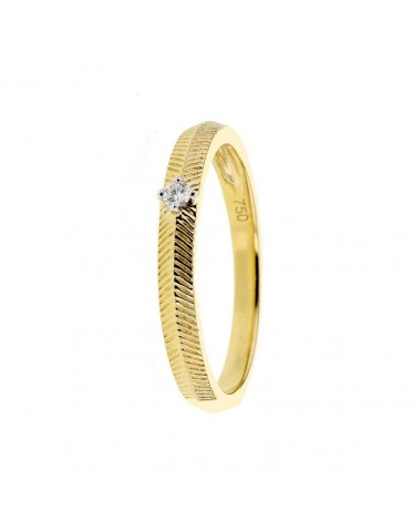 Vintage style fish-bone pattern solitaire ring in 18 K gold