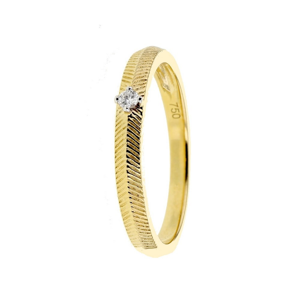 Bague solitaire diamant fish-bone vintage
