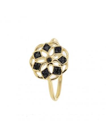 Ring 18K gult guld med svarta diamanter