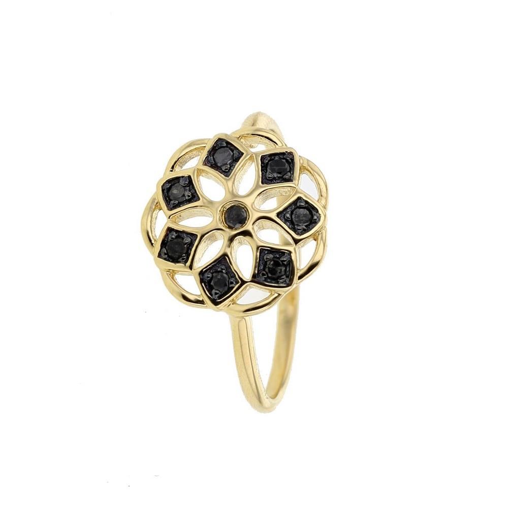 Bague fleur avec des pétales en diamants noirs