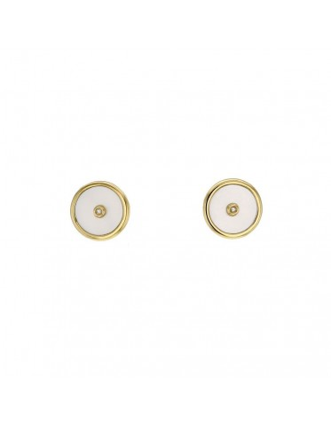 Mother of pearl disc amulet with diamond earrings in 18 K gold