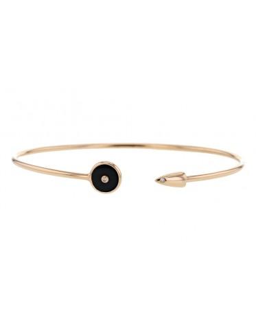 Bracelet canne avec jeton en onyx noir et balle avec diamants