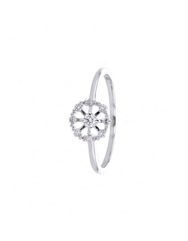 Diamond set romantic wheel ring in 18 K gold