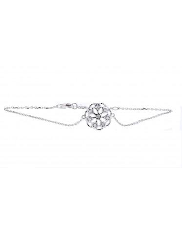 Bracelet fleur avec des pétales en diamants