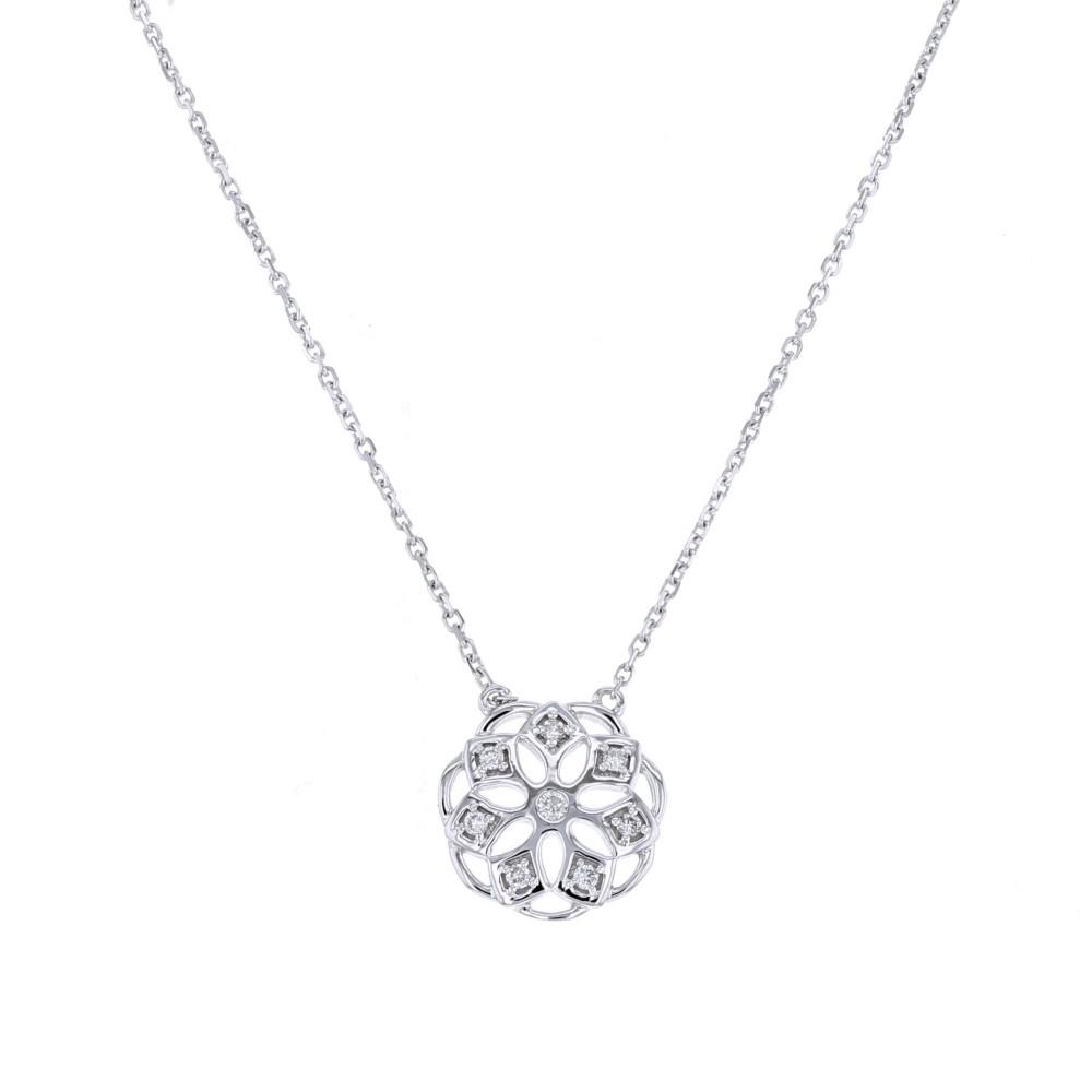 Collier fleur avec de petales en diamants