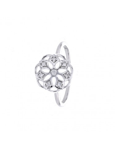Lotus flower shape ring with diamonds in 18 K gold